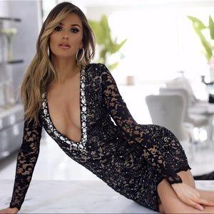 Holt Miami Pina Lace Dress W/ Swarovski Crystals